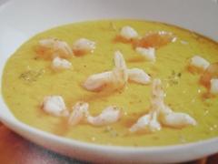 Ricetta crema di carote con scampi saltati