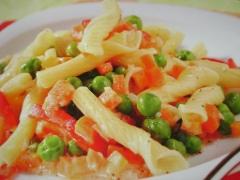 Ricetta tortiglioni piselli e peperoni