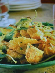 ricetta facile e veloce frittura di coniglio verdure e pere