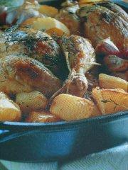 ricetta facile e veloce polletti all'aglio con timo e patate