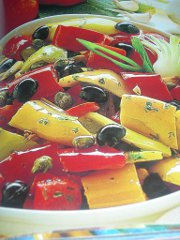 ricetta facile e veloce peperonata con acciughe e olive