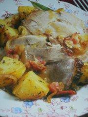 ricetta facile e veloce coppa di maiale con patate all'acciuga